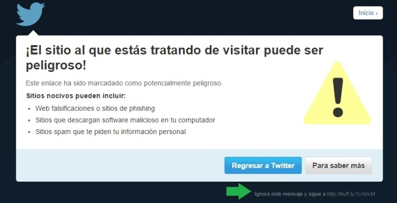 advertencia de seguridad de twitter