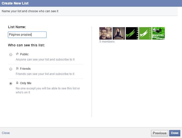 listas de páginas de interés en Facebook