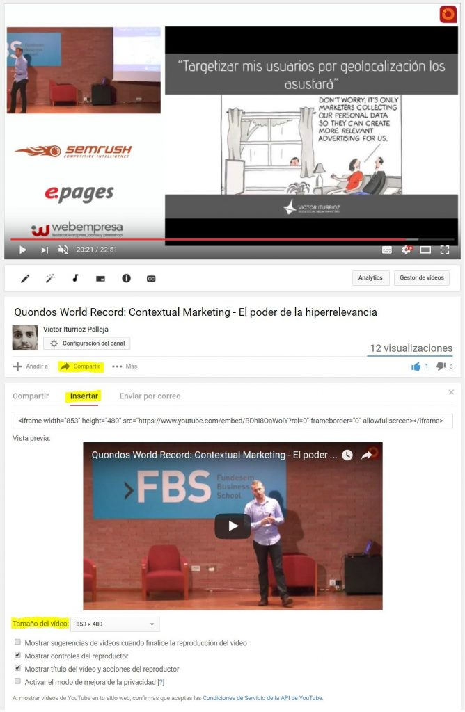 compartir embeds de youtube