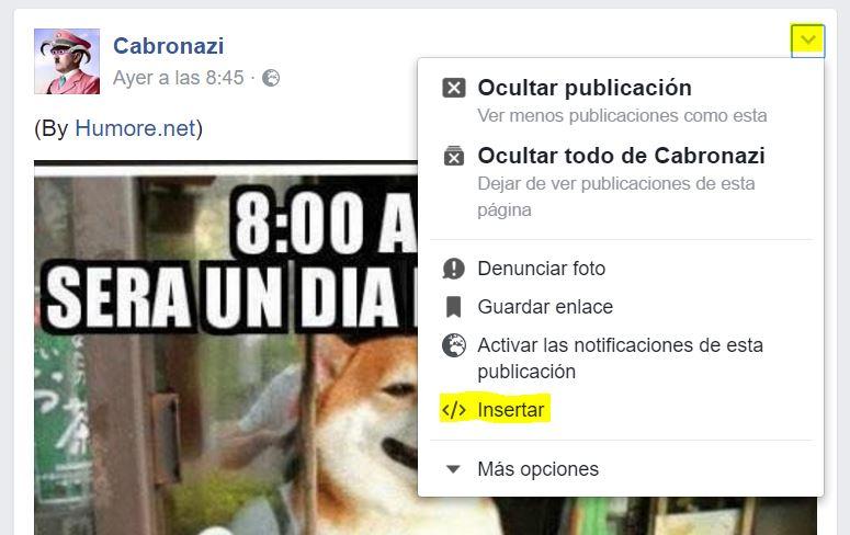 insertar embed facebook