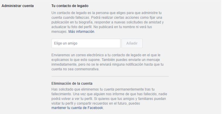 contacto de legado facebook