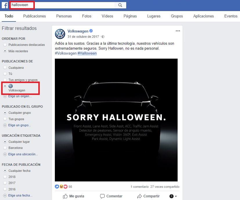 features buscador de facebook