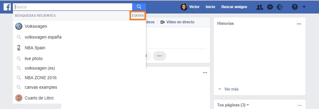 historial de búsquedas de facebook