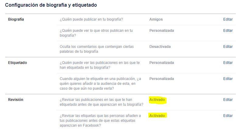 configuracion revision biografia facebook