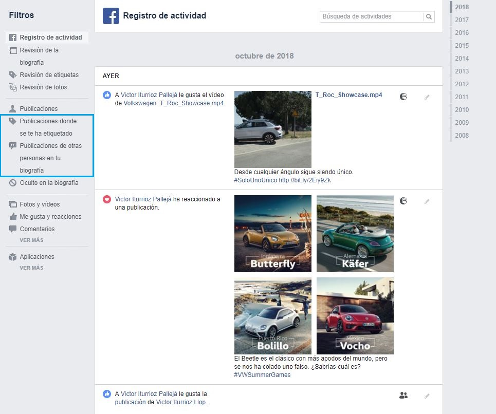 trucos facebook registro de actividad